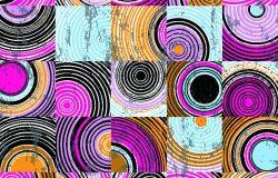 圆圈、正方形、笔划和飞溅的无缝背景图案
