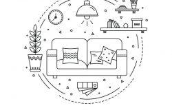 现代线条风格的室内设计理念。客厅矢量图。可用于信息图形设计的网页元素。