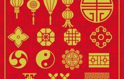 中国新年灯亚洲矢量