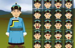 蒙古男孩卡通情感脸矢量插图