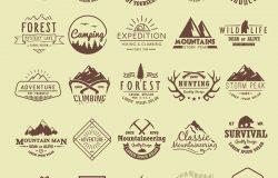 以登山、徒步旅行、登山狩猎为主题的一套古董标签。极限运动,户外娱乐,冒险,在山里度假。成就。