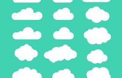 一组蓝天云彩。云图标云形状。