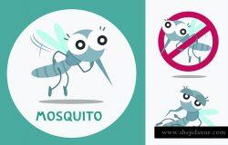 一套可爱的蚊子。矢量图