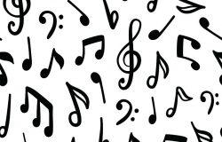 无缝矢量模式与音乐音符。
