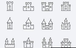 矢量中世纪城堡图标