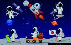 太空人的角色是平面卡通风格。人类太空人。矢量图