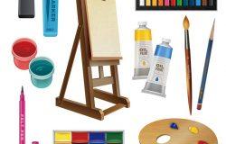 工具和艺术用品的艺术装饰元素–画架调色板、画笔和铅笔隔离矢量插图