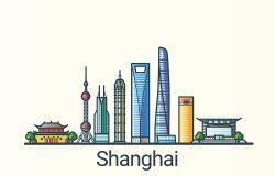 上海旗帜以平行线时尚的风格。所有建筑物分开并可定制。线条艺术。