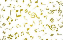 摘要金色音乐笔记无缝图案背景向量插图为您的设计。