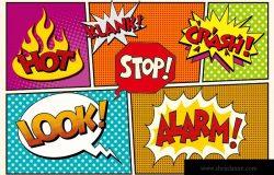 页,漫画,文字,云,泡泡,流行艺术,复古向量插图。快看警报停止Klank撞车
