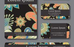 花饰图案模板的库存向量集卡片横幅封面的东方设计