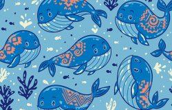 卡通蓝鲸背景可爱。以鲸鱼和小鱼为背景的海洋生命载体。船用织物装饰