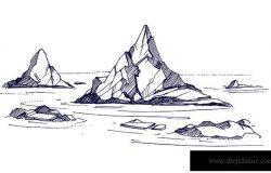 冰山素描。矢量图