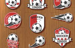 关于足球主题以及足球比赛项目的矢量插图集。