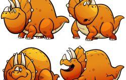 恐龙卡通字符集的矢量图