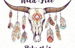 波霍族土著美洲或墨西哥牛头骨,角上有羽毛和传统装饰品;部落手绘素描风格的矢量插图;海报明信片邀请设计