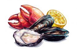 海鲜成分。水彩画海鲜。贻贝,牡蛎,蟹爪,柠檬。在白色背景上孤立的水彩插图。食品插图。
