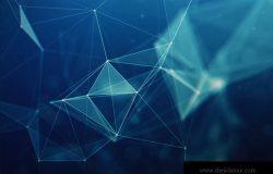 摘要多角形空间低聚暗背景与连接点和线。连接结构未来多角形背景。三角商业墙纸