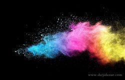 彩色粉末爆炸/投掷彩色粉末在黑色背景上的冻结运动