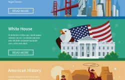 带有美国城市景观白宫和牛仔孤立矢量插图的美国平面横幅