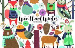 冬季林地动物可爱的森林动物及设计元素