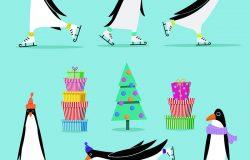 矢量集元素为圣诞和新年设计的平面风格:卡通企鹅以各种姿势在冰鞋上戴上一条围巾,装饰圣诞树上的礼物。