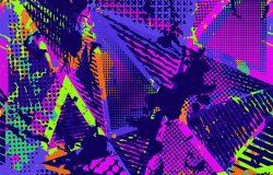 抽象的城市无缝格局。纹理背景。磨损滴,喷雾器,三角形点,霓虹灯,喷漆,飞溅。都市现代肮脏的深色壁纸。时尚纺织运动面料。撕裂式