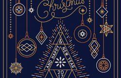 多边形圣诞节和新年印刷背景。矢量插图EPS 10明信片艺术装饰线型装饰球。