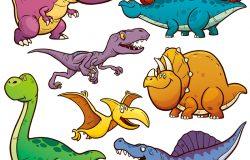卡通恐龙字符集的矢量图