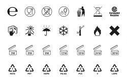 包装符号集合。包装上的图标。光栅版