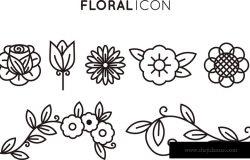 平面设计中的一套花卉图标。细线式