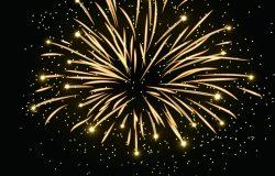 烟花爆出的火花背景。隔离金,五颜六色的夜火,美丽的爆炸,庆祝节日,圣诞节,新年生日。象征节日周年纪念矢量插图