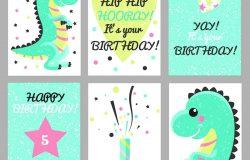 一套6可爱的创意卡模板与生日快乐主题设计。生日周年派对邀请函手绘卡片剪贴簿。矢量图