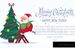 可爱的卡通圣诞老人装饰圣诞树快乐圣诞矢量插画贺卡海报横幅