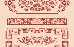 中国古代螺旋几何十字形边框图案