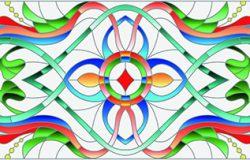 彩色玻璃装饰,有抽象的漩涡花和叶,背景浅,水平方向
