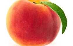 白色背景下成熟桃