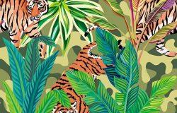 热带丛林中野生食肉动物老虎的无缝构成。一种印刷图案壁纸的矢量图-军用卡其色背景