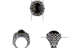 珠宝设计艺术戒指。