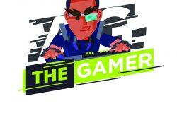 玩家标识硬核心玩家角色设计玩游戏的个人电脑。电脑鼠标和键盘。游戏概念-矢量图