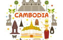 柬埔寨旅游景点标签、地标、旅游和传统文化