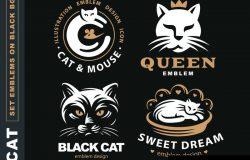 在黑色背景上设置徽标插图猫徽设计