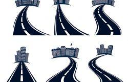 分隔标志和城市景观图标采集向量图的孤立公路