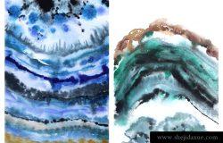 玛瑙片,青绿色石,天然图案,水彩画,绘画,插图,光栅,在一幅画布上打印两幅画。