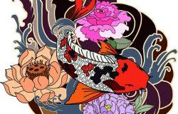 手绘锦鲤纹身