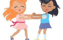 女孩们在戒指上唱歌跳舞,在白色的孤立和有闲暇的时间。学校女生休息的时候。年轻的女士们在操场上以平坦的风格玩耍。日常活动。