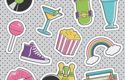 一套有趣的,时尚的,老式的贴纸,时尚徽章,带有球尾,繁荣箱,心镜,保龄球鞋,滑板。