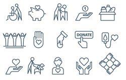 慈善捐赠和志愿者工作理念图标薄线平面设计