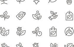 简单的植物相关向量线图标集。包含的图标,
