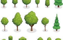 具有不同形状的绿树和灌木丛的公园植物等距集孤立向量图